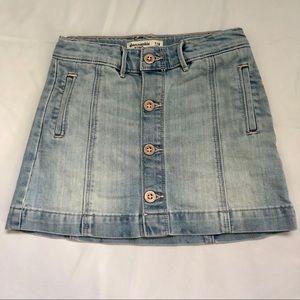 Abercrombie Jean Skirt Button Down Light Denim 7/8